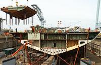 Stern of Future Aircraft Carrier John F. Kennedy Placed