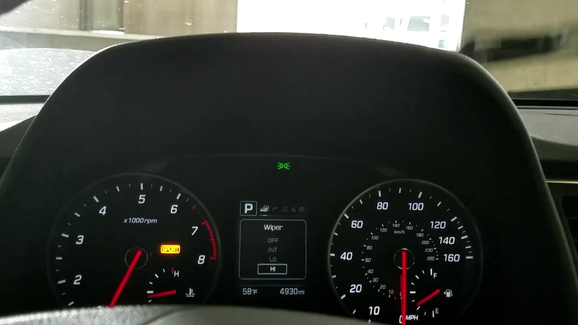 Hyundai Indicator Shows Wiper Position