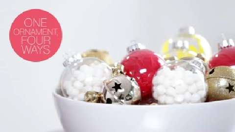 Make four kinds of ornaments from clear glass baubles