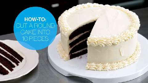 How to cut a round cake into 10 pieces