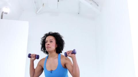 Compound exercise: Squat with shoulder press