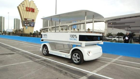 Navia self-driving shuttle at CES 2014