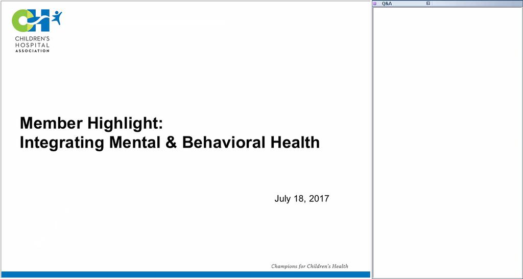 Member Highlight Webinar Integrating Mental And Behavioral Health