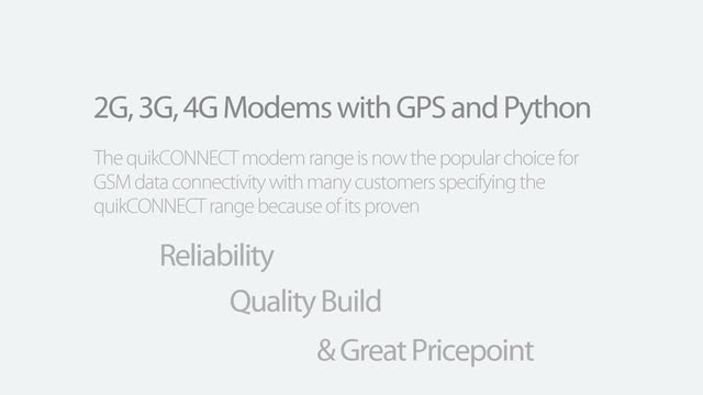 quikCONNECT 2G, 3G, 4G Modems with optional GPS