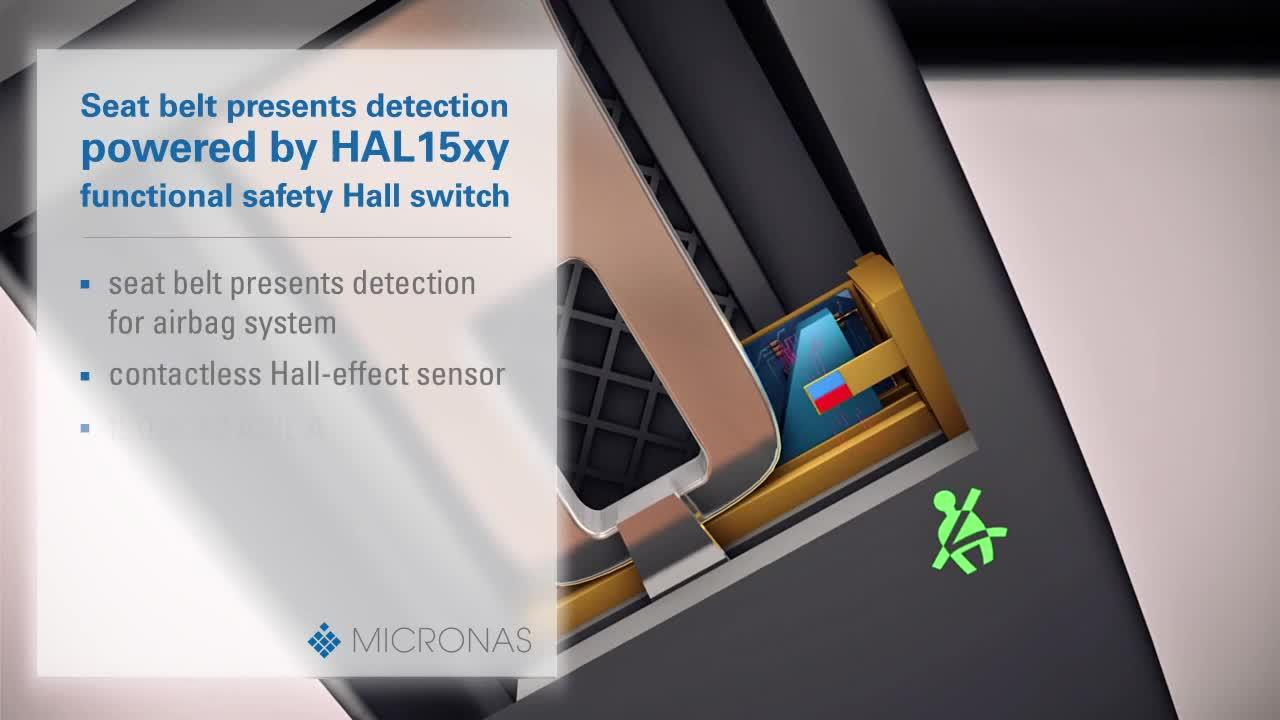 Seat belt presents detection by HAL 15xy | Micronas