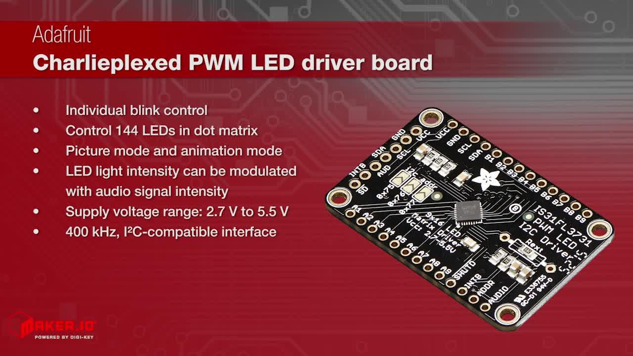 Adafruit IS31FL3731 Matrix LED Driver Breakout Board | Maker Minute