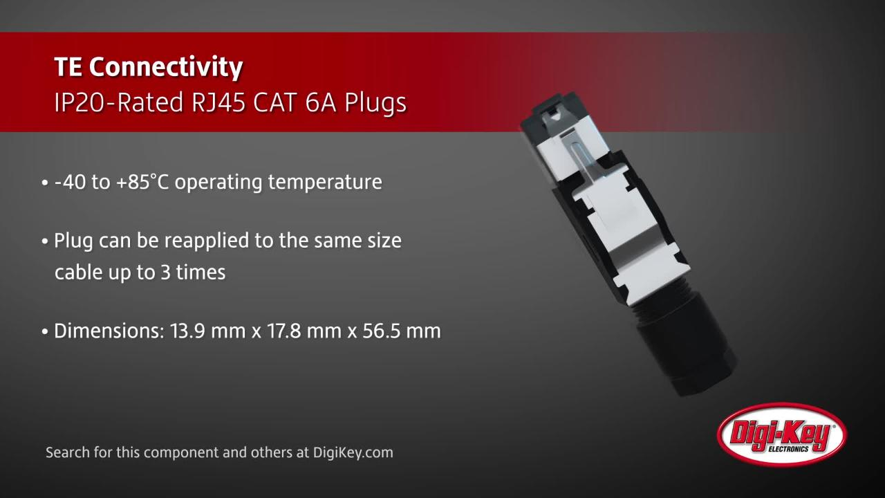 TE Connectivity IP20-rated RJ45 CAT 6A plugs | Digi-Key Daily