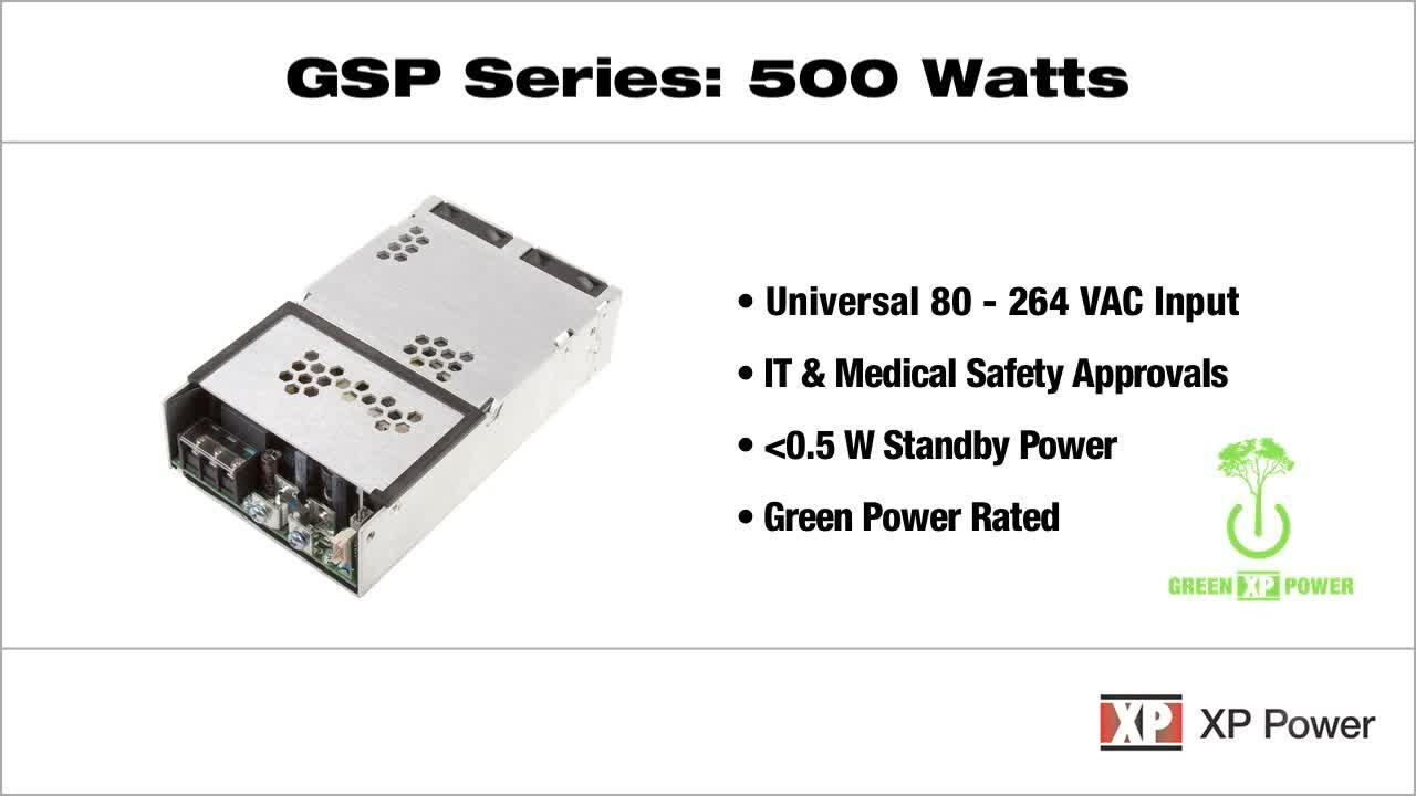 "GSP500 Series: 500 Watt IT & medically approved AC-DC power supply in an ultra-compact 4""x 6"" footprint"