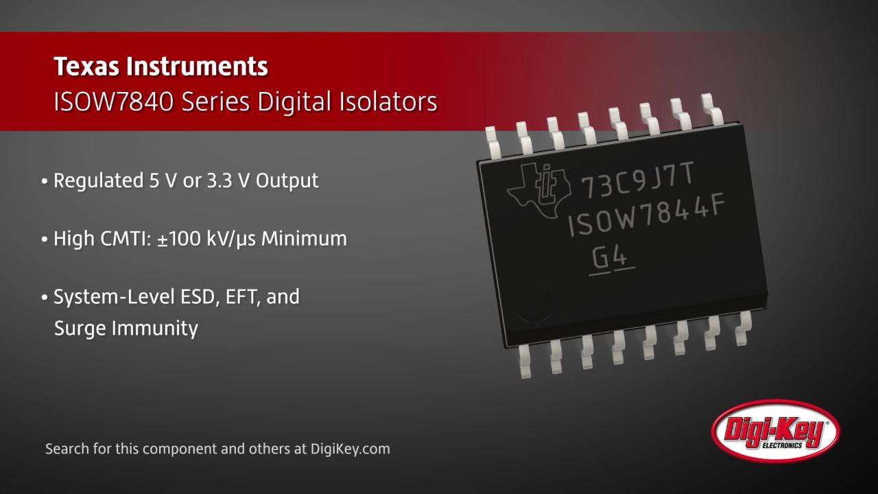 Texas Instruments ISOW7840 Digital Isolators | Digi-Key Daily