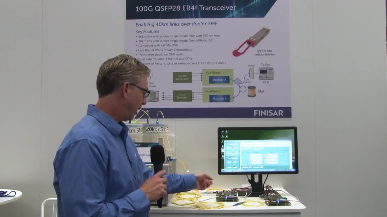 Finisar Demonstrates 100G QSFP28 ER4f Transceiver at ECOC 2017