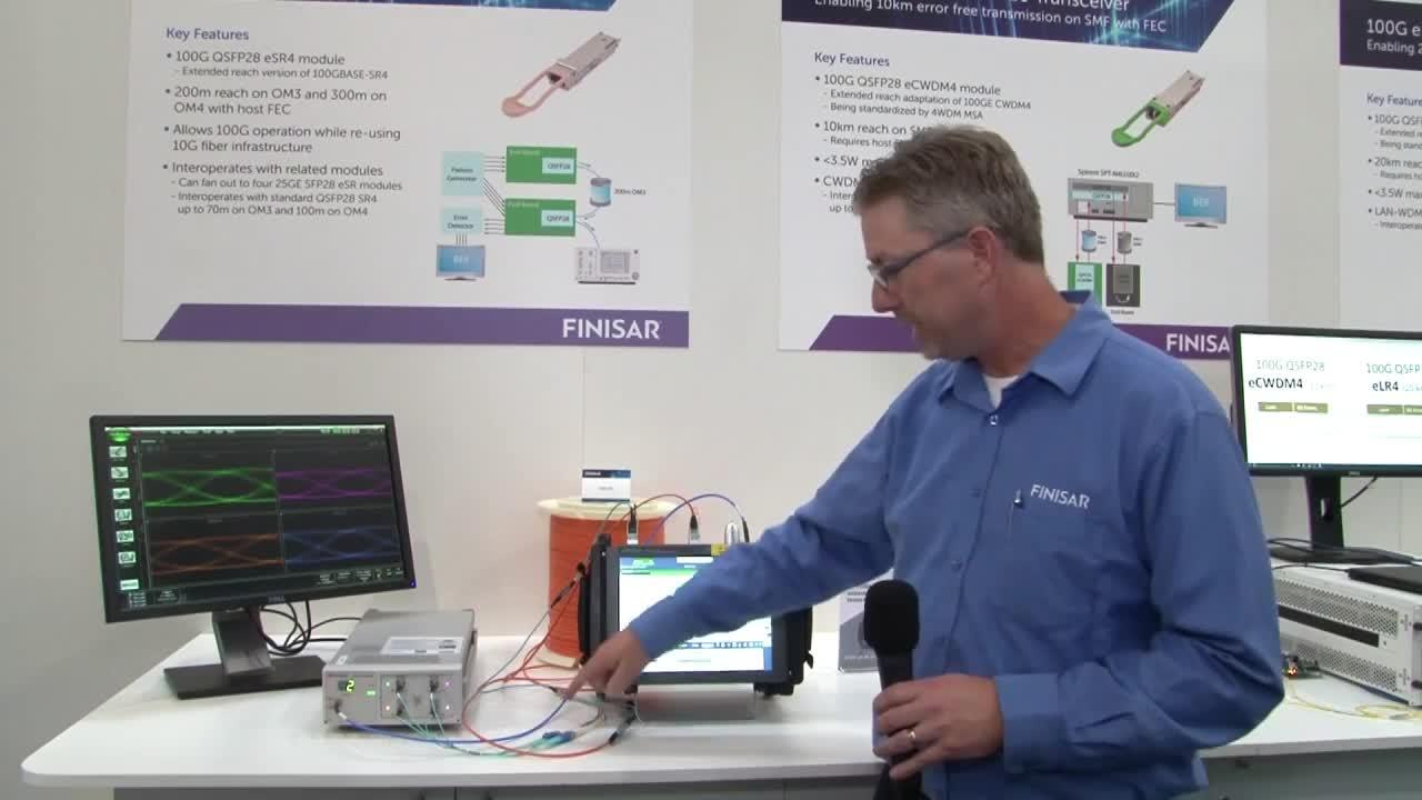 Finisar Demonstrates Extended Reach 100G QSFP28 Optical Modules at ECOC 2016