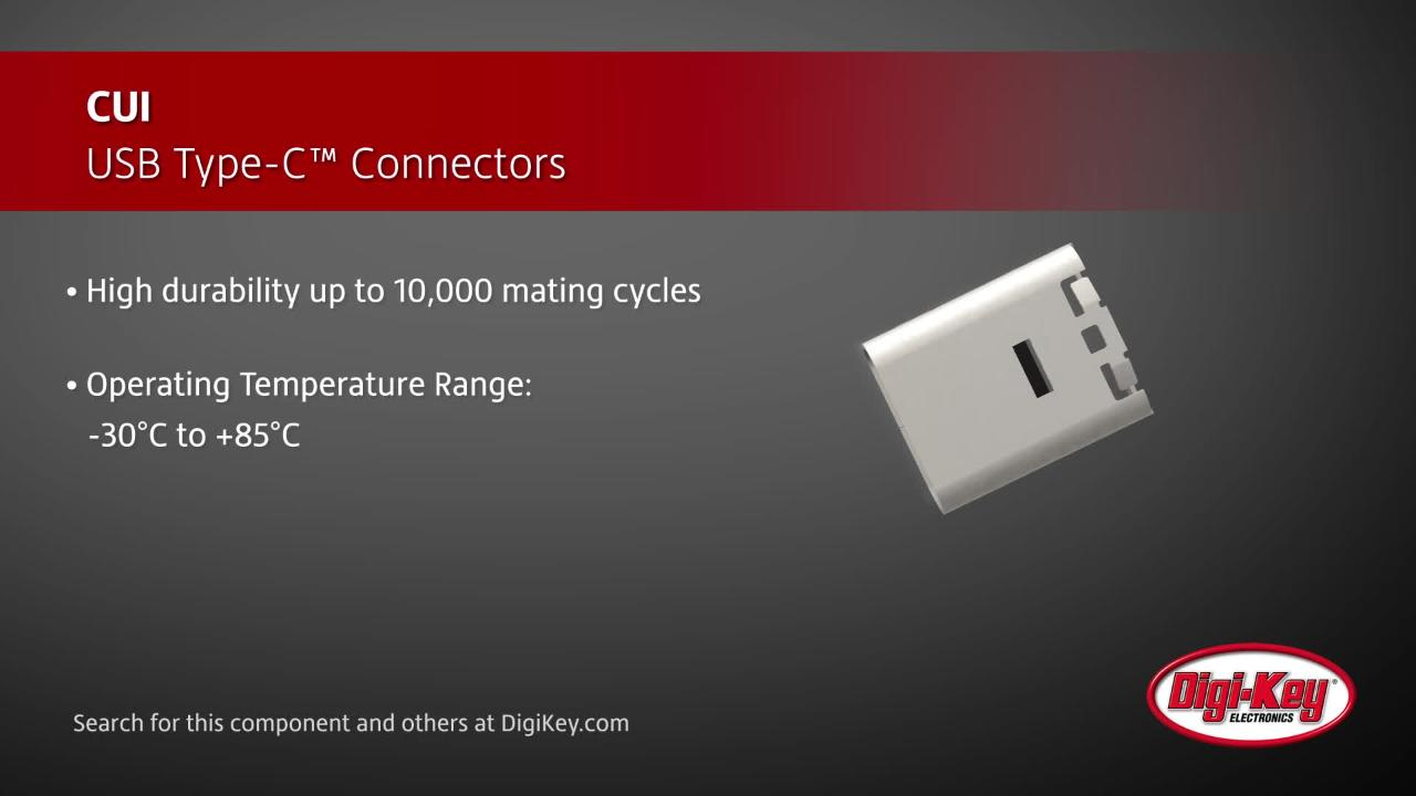 CUI Devices USB Type-C Connectors | Digi-Key Daily