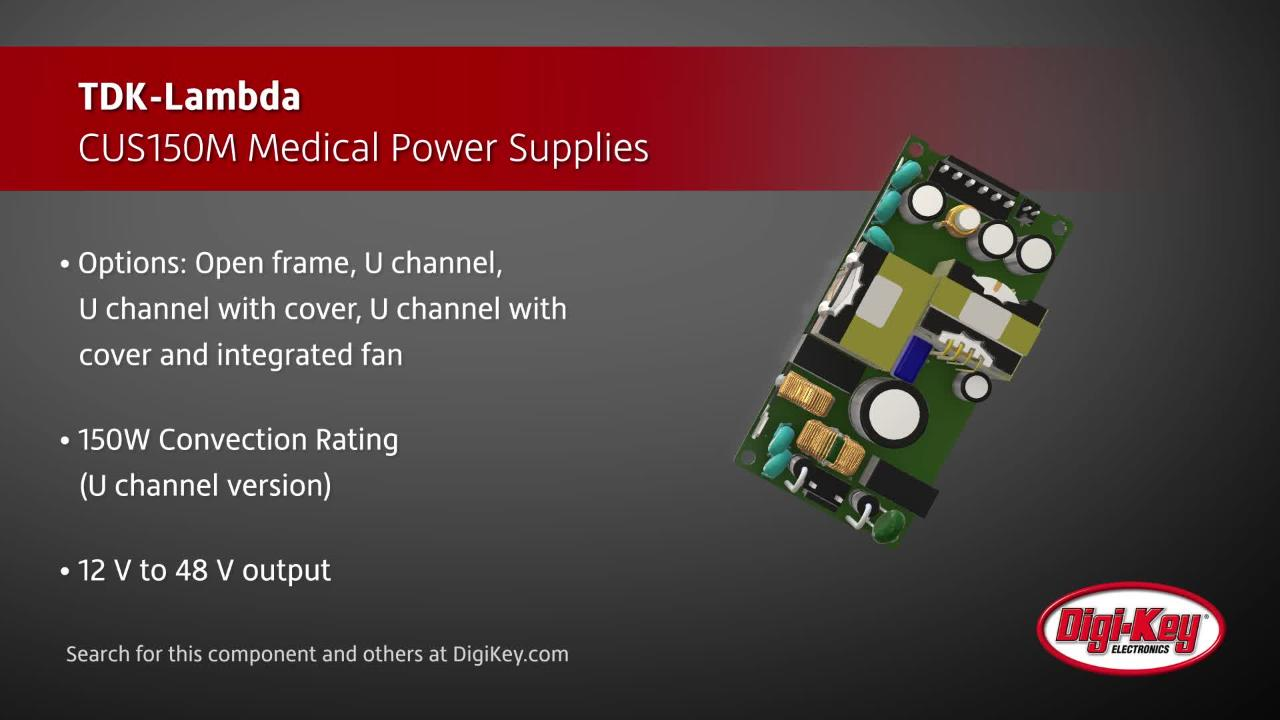 TDK-Lambda CUS150M Medical Power Supplies | Digi-Key Daily