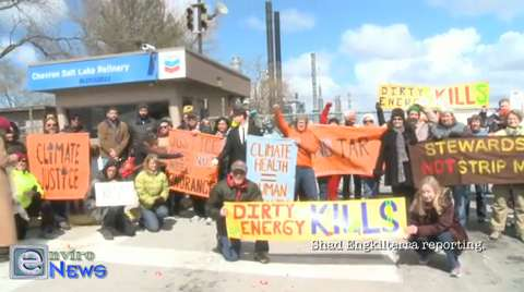 Protests Against America's First Approved Tar Sands Operation Rage in Utah at Chevron Refinery