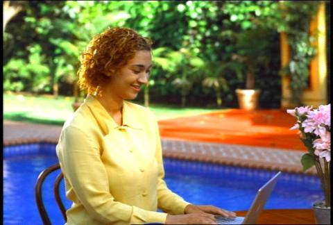 Business Woman Outdoor Laptop Table Typing