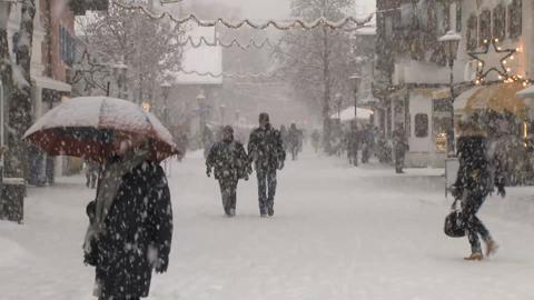 People Outside In Snow Storm