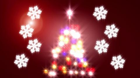 Blurry Christmas Tree With Snowflakes