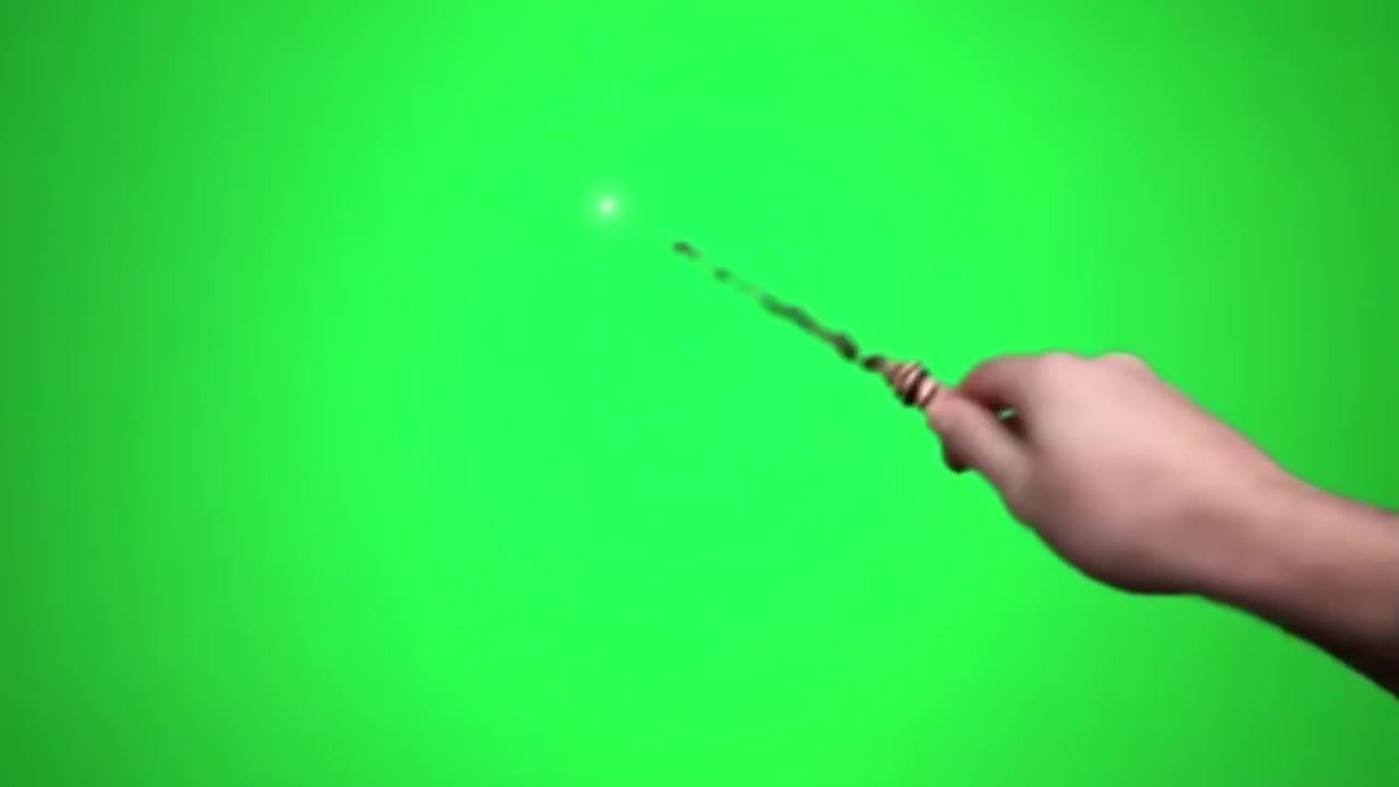 Magic Wand Electricity Lighning On Green & Sound