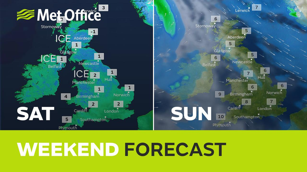 A wintry weekend to come with a cold breeze bringing sleet, hail and some snow showers with sunny spells between. There will also be night frosts and the risk of icy patches, Alex Deakin has the details.