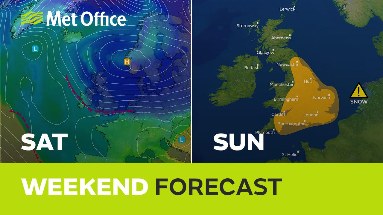 Very cold air returns from the east this weekend. Some places will see significant snowfall but amounts will be highly variable. Met Office Meteorologist Aidan McGivern has the latest.