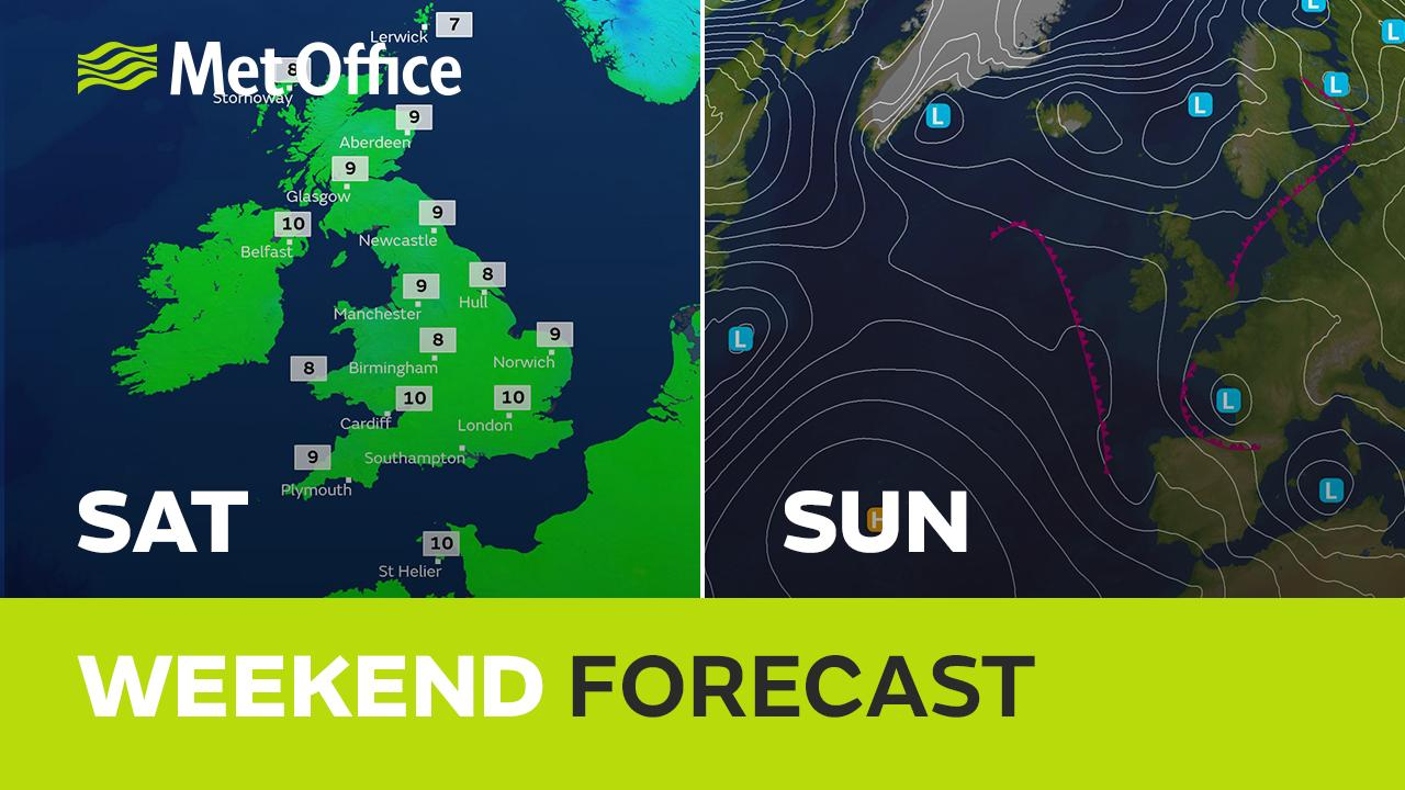 British Summer Time starts this weekend and the weather will certainly be very different to the wintry scenes of last weekend. Most of the UK will get some Spring sunshine at times but there'll be some heavy rain showers too, Alex has the details.