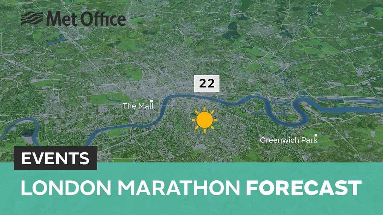 With increasingly warm and sunny weather expected across the UK during the next few days, Met Office meteorologist Aidan McGivern looks ahead to the London Marathon.