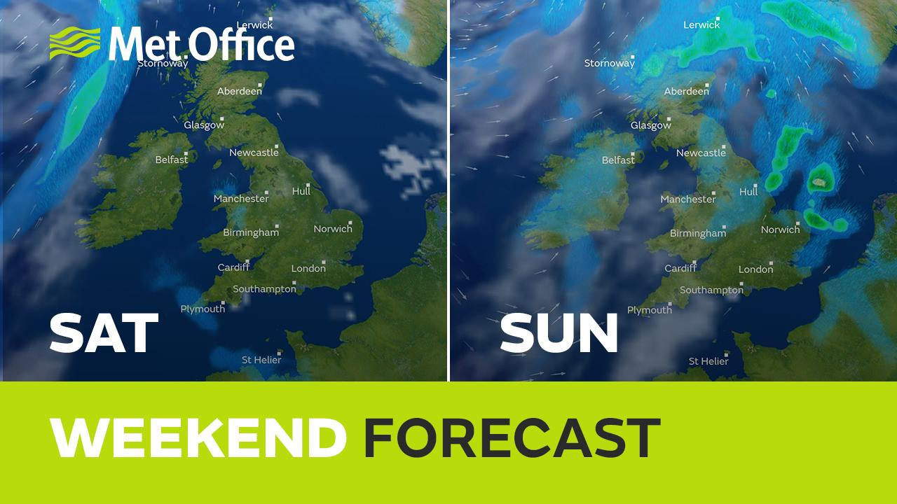 Warm for the weekend, but turning cooler from the NW - with showers. Clare Nasir explains.