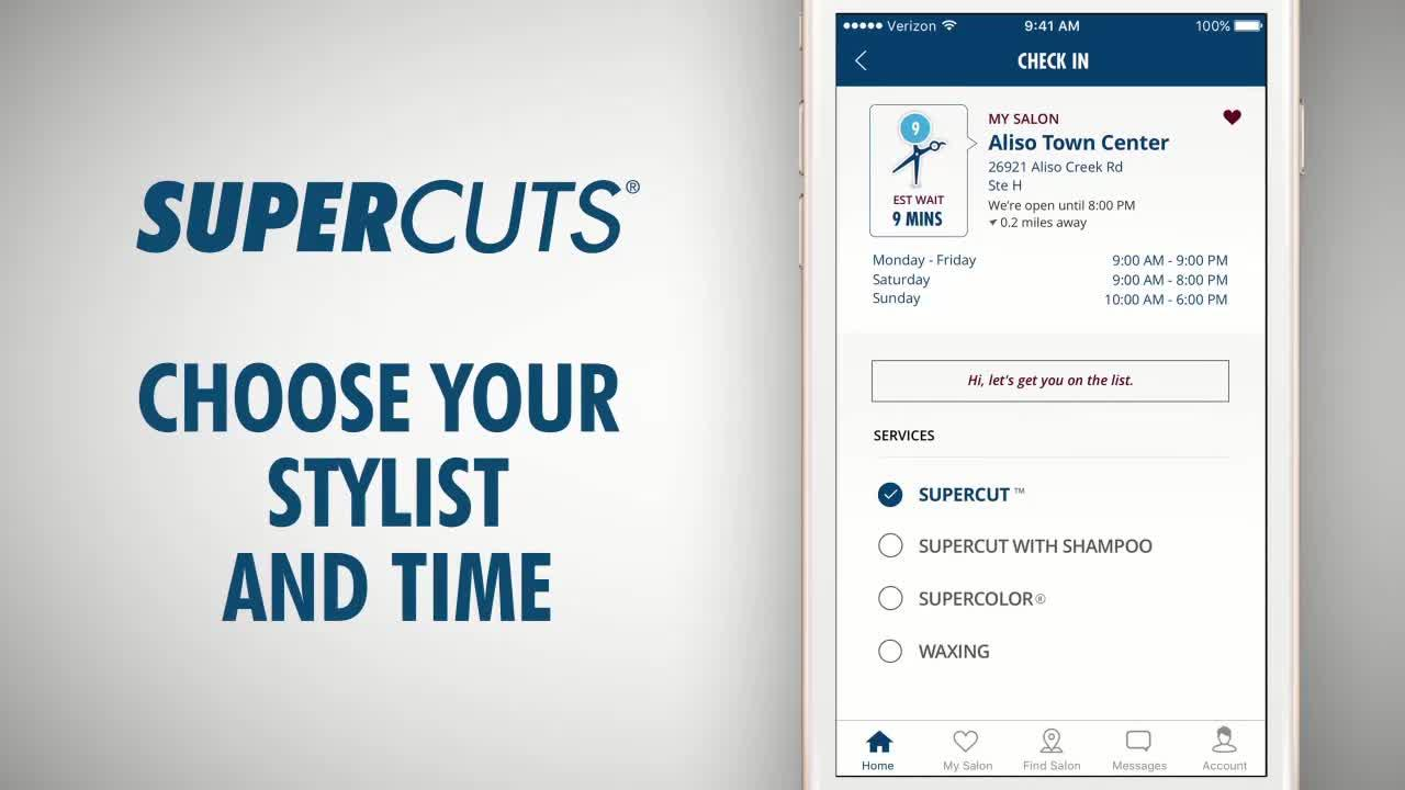 Supercuts Mobile App Hair Salon Check In