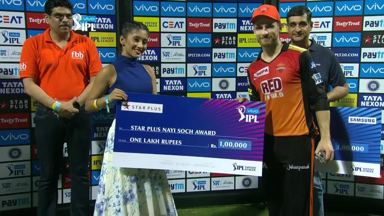 M23: MI vs SRH – Star Plus nayi soch award – Kane Williamson