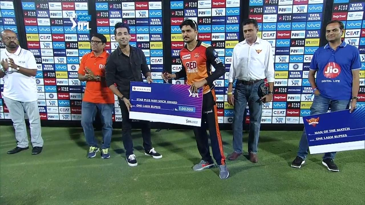 M25: SRH vs KXIP – Star Plus nayi soch award – Manish Pandey