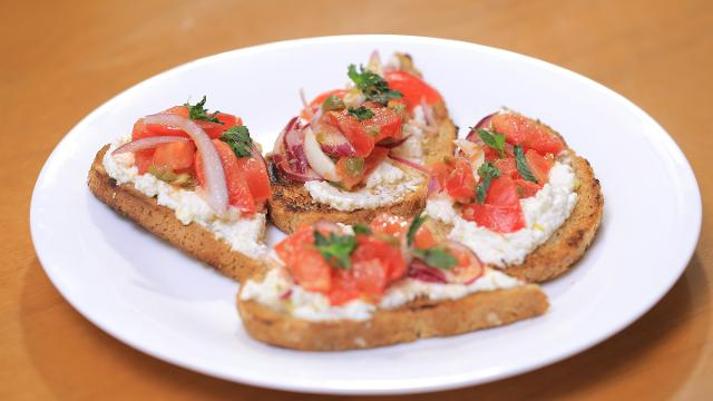 Ep 8: Lemony Ricotta Crostini with Tomato Caper Salad | Kitchen Quickies