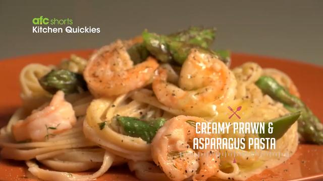 Creamy Prawn & Asparagus Pasta | Kitchen Quickies