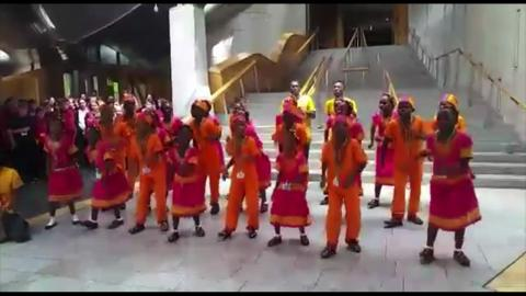 "Video: Kenyan childrens' choir ""Singing Children of Africa"" sing Flower of Scotland at Scottish Parliament"