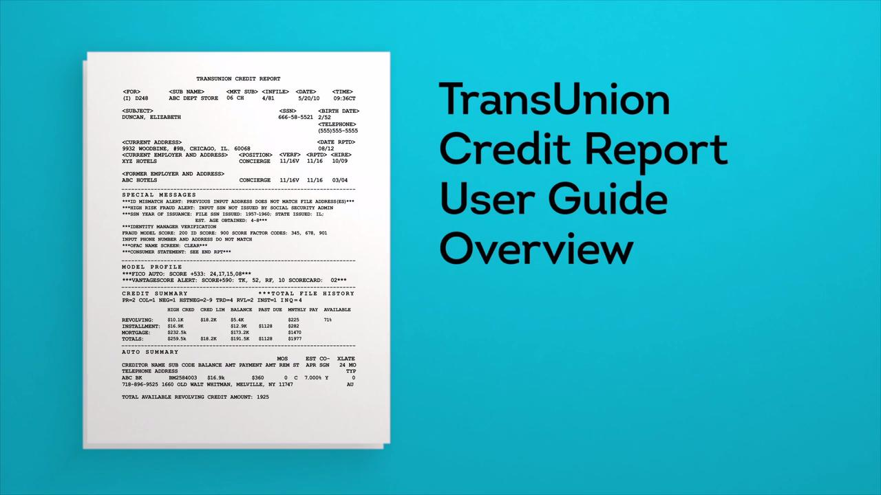 How to Read a Credit Report Tools TransUnion