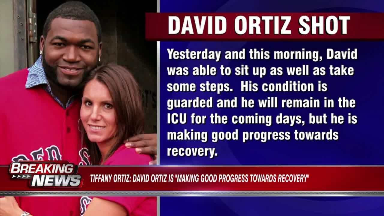 David Ortiz's wife says he's 'able to sit up, take some steps' as he