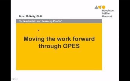 Moving the Work Forward through OPES - Preview
