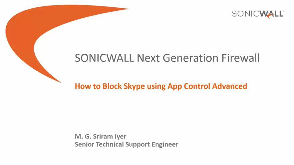 How to Block Skype using App Control Advanced | SonicWall