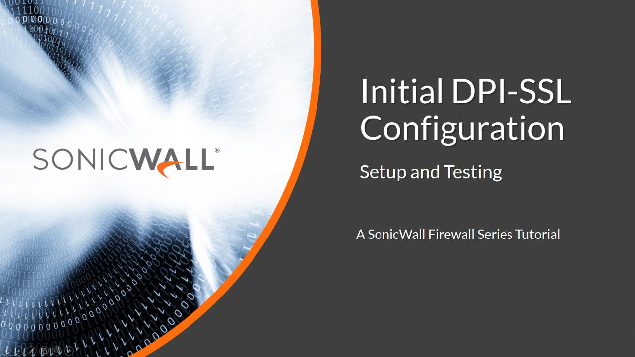 How To Configure Client Dpi Ssl Sonicwall