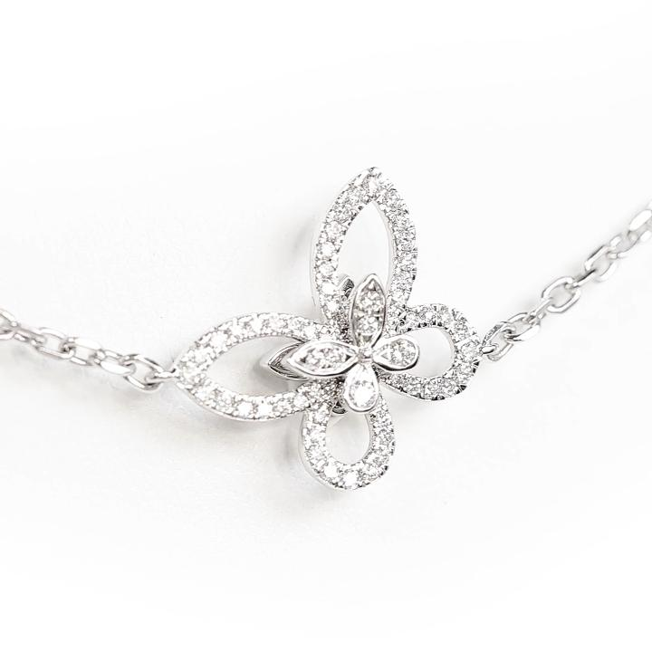 Butterfly Silhouette Diamond Long Necklace