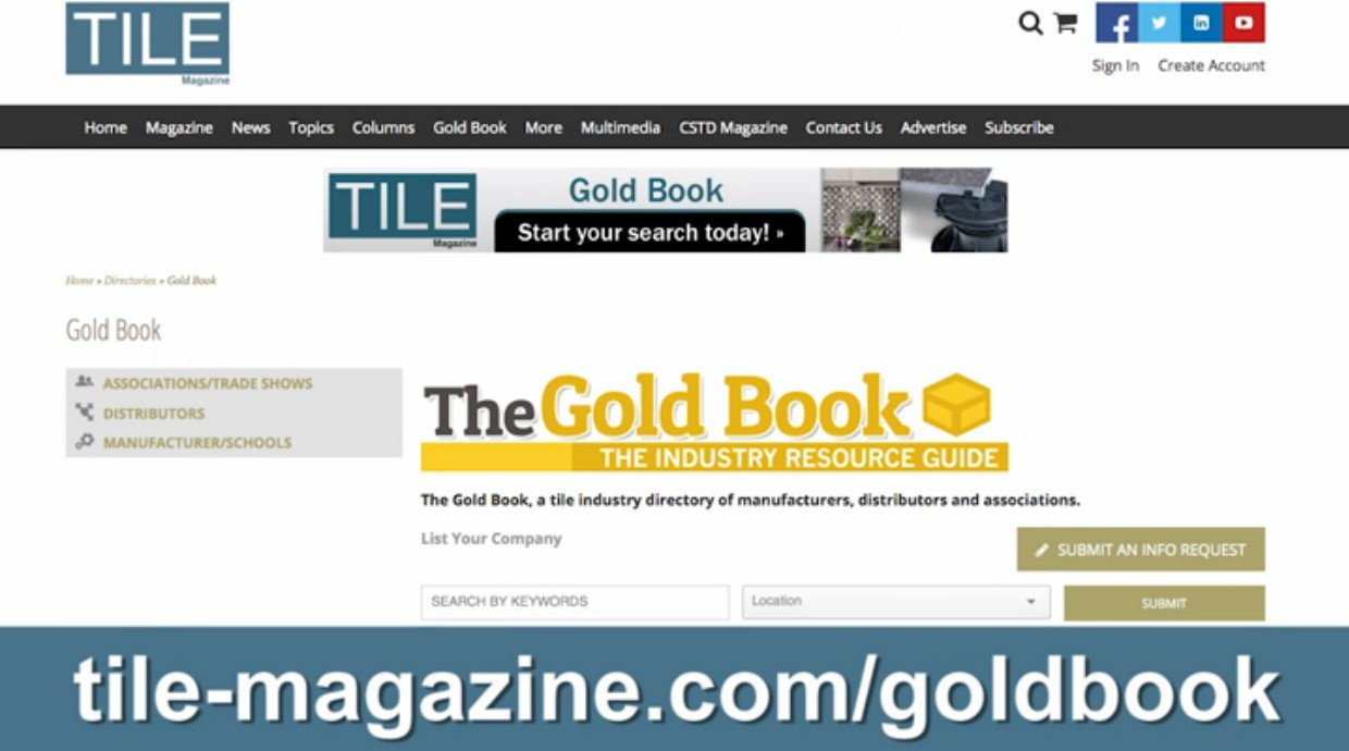 Tile magazine technical articles case studies product trends take a tour of the tile gold book dailygadgetfo Gallery