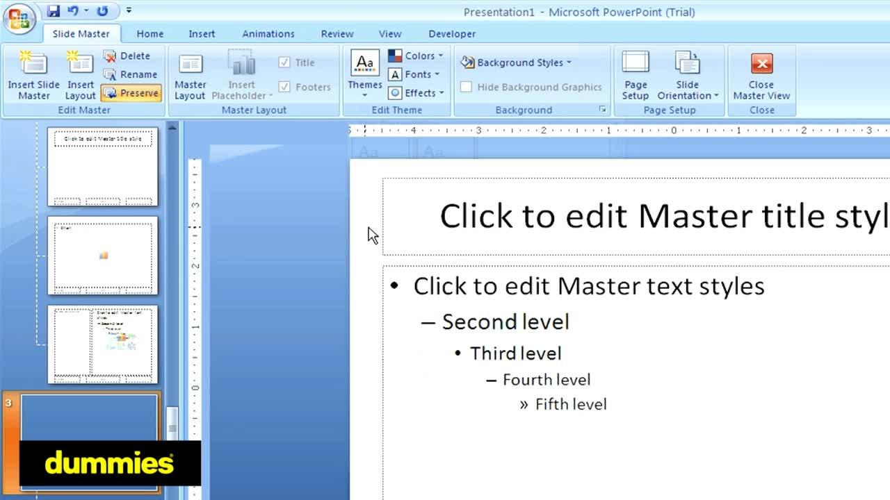 How To Use A Powerpoint Slide Master Dummies