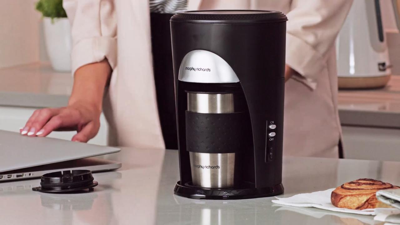 Morphy Richards On The Go 162740 Filter Coffee Machine Black Brushed Steel
