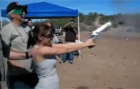 Girl Double Taps SW 500 Revolver