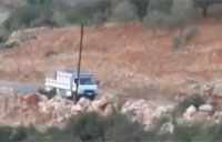 Syrian Army Ammo Truck Hits IED
