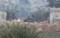 SAA Tank Devastated by Direct Hit
