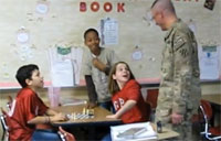 Soldier Crashes Kid's Classroom