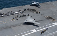 Aerial View of X-47B Carrier Launch