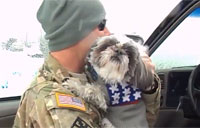 Patriotic Pup Welcomes Home Soldier