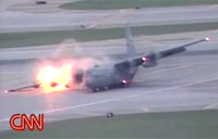 C-130 Landing Gear Fail on Runway