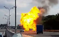 Gas Cylinder Truck Explodes on Road